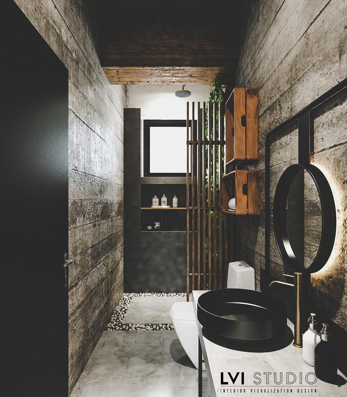 Phòng tắm hẹp được trang bị các yếu tố phong cách công nghiệp mát mẻ để tạo ra một không gian nghỉ dưỡng