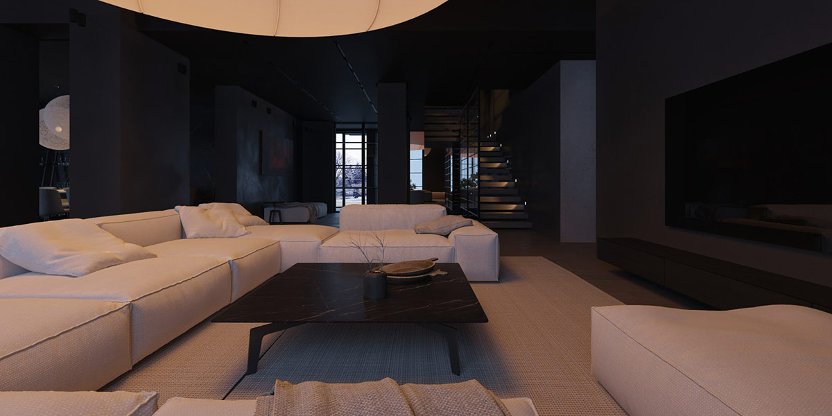 Ánh sáng tự nhiên được giảm bớt bằng cách hấp thụ các bức tường nội thất màu đen mờ