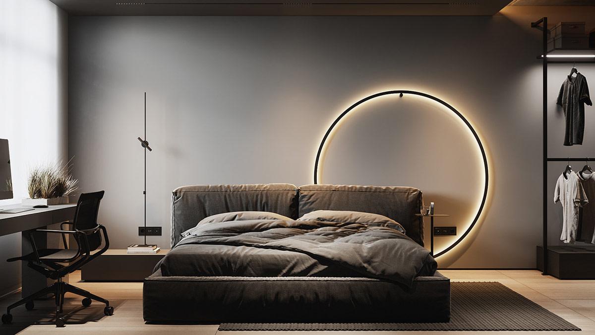 Chiếc đèn tường ấn tượng bao quanh đầu giường cung cấp ánh sáng đọc sách