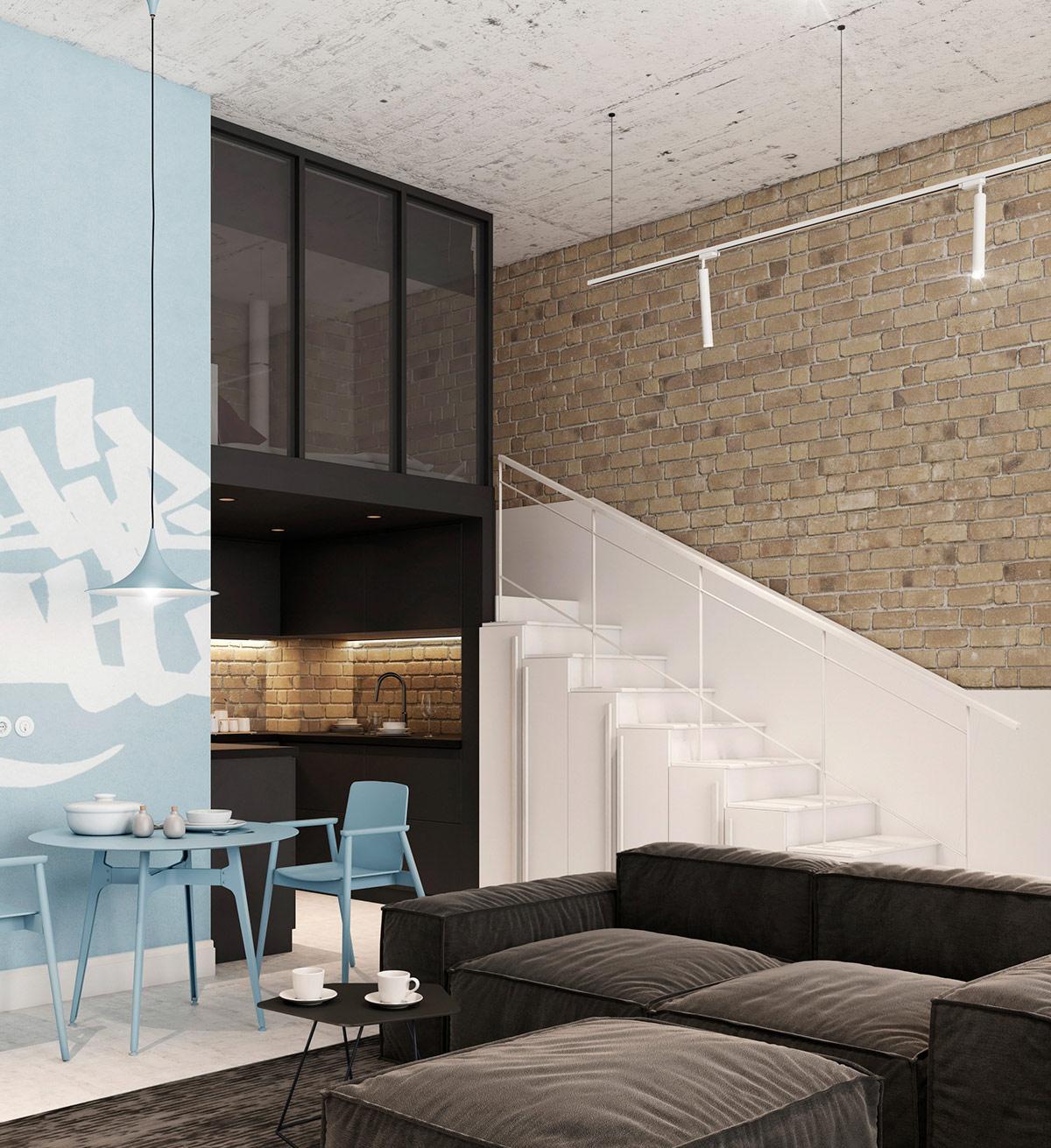 Một bức tường graffiti màu xanh lam bổ sung cho đồ nội thất ăn uống trong khi vẫn duy trì một đường phố đô thị hoang sơ.