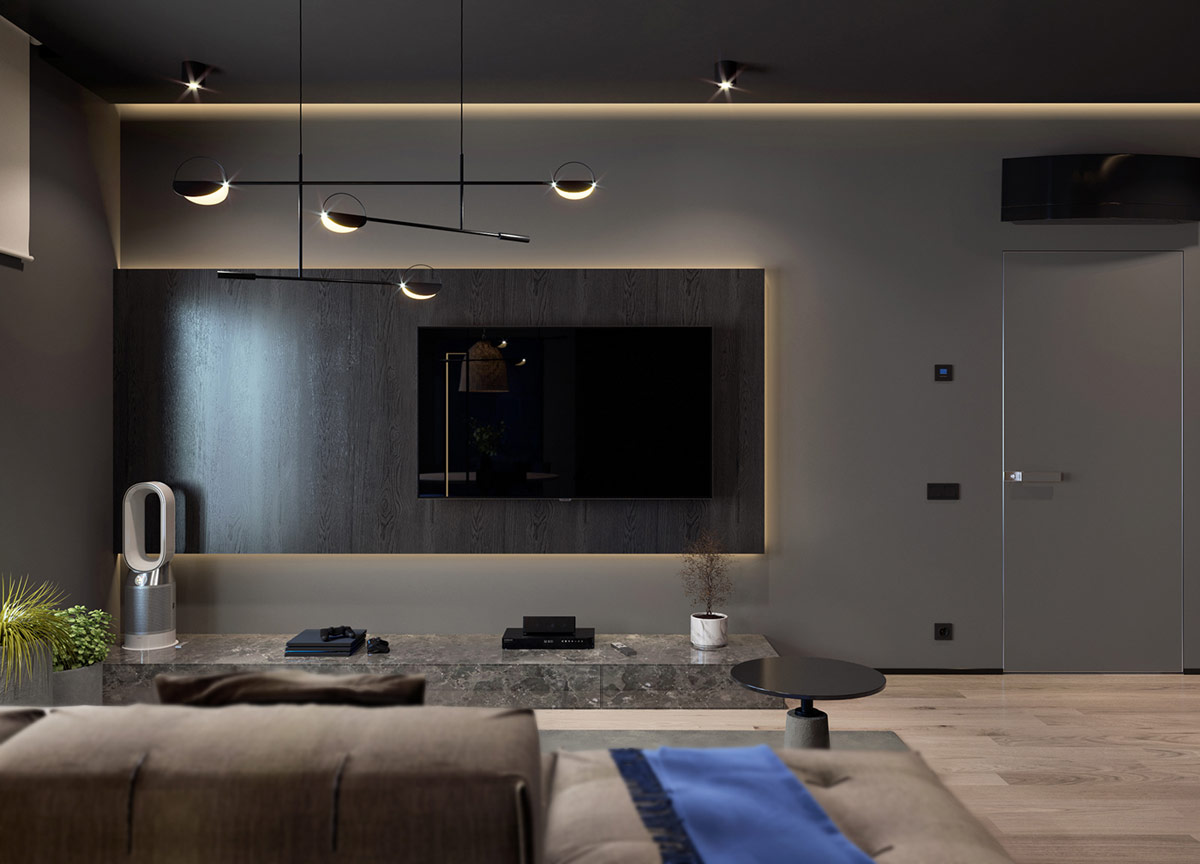 Giá đỡ TV bằng đá granit đặt xuống một chân đế sang trọng bên dưới giá treo TV nổi hiệu ứng gỗ