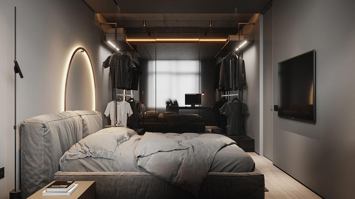 Các tấm gương vẽ một phông nền phản chiếu phía sau tủ quần áo không gian mở, giúp tăng gấp đôi hiệu ứng ánh sáng trong phòng.