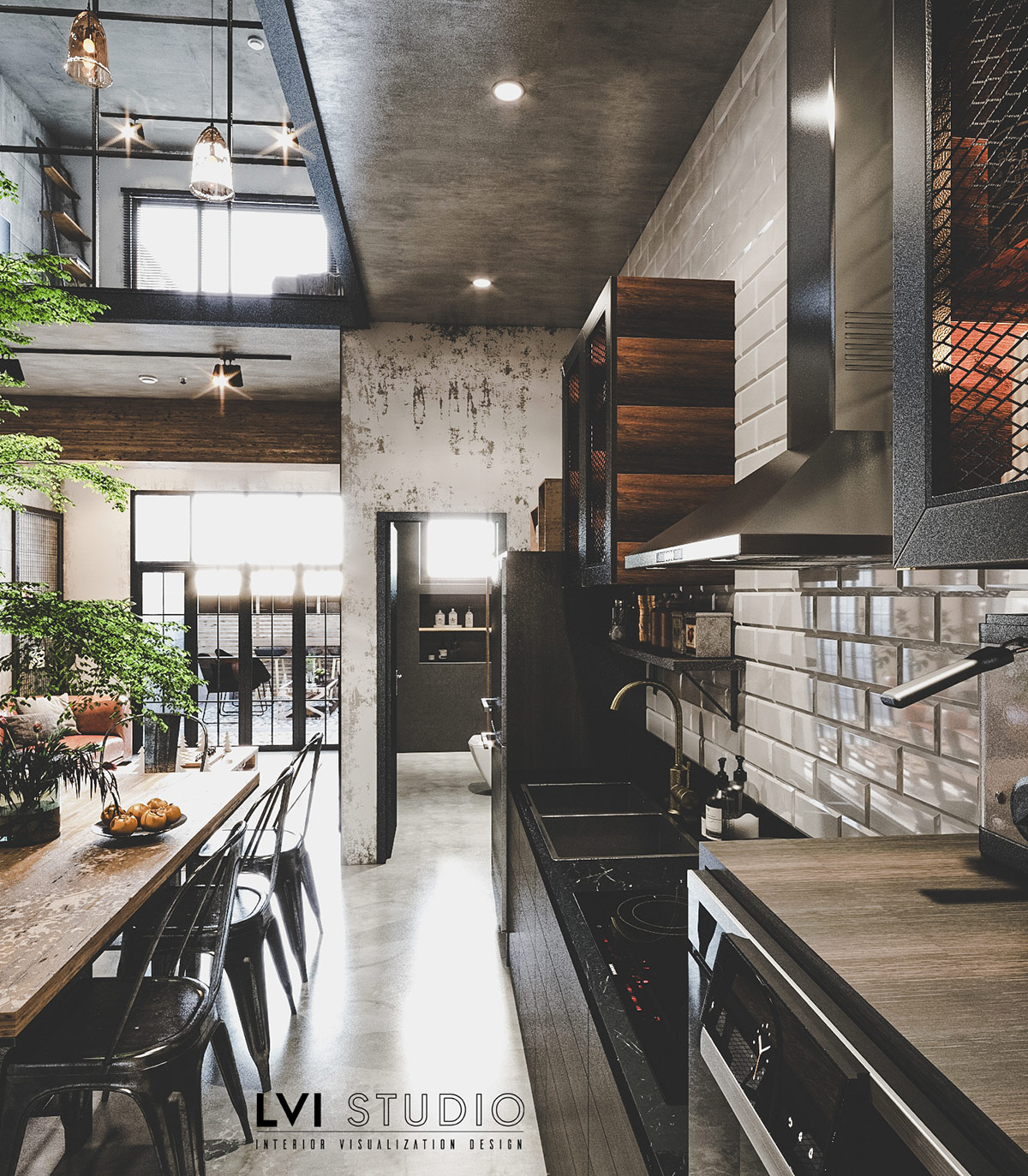 Ghế ăn bằng kim loại ăn nhập với thiết kế nhà bếp phong cách công nghiệp