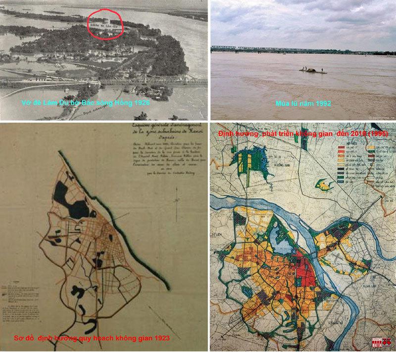 Sơ đồ quy hoạch do KTS Ernest Hébrard công bố năm 1923 và quy hoạch phát triển không gian Hà Nội đến 2010, công bố 1995