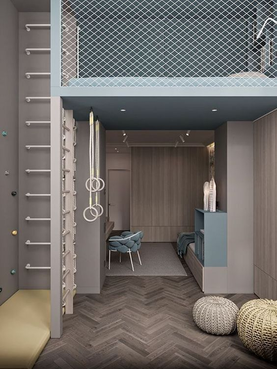 Diện tích căn phòng nhỏ, để mở rộng không gian diện tích sử dụng, thiết kế gác xép để tận dụng khoảng không theo chiều cao. Không gian học tập và đọc sách sẽ được đặt ở tầng 1, không gian ngủ nghỉ ở tầng 2 nên khá thuận tiện và hoàn toàn tách biệt.
