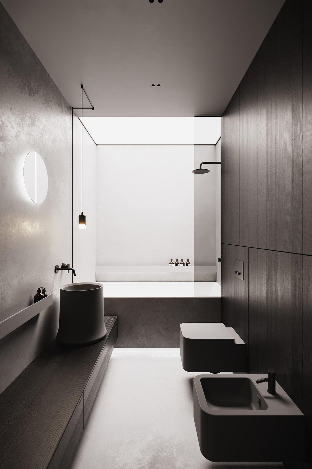 Phòng tắm được thiết kế tối giản và ánh sáng vẫn là yếu tố chi phối chủ đạo