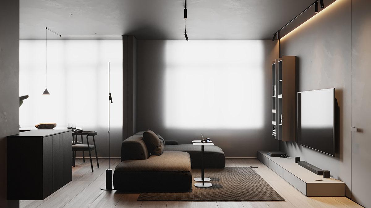 Rèm cửa sổ có kích thước quá khổ phủ lên các mép của khung cửa sổ và kéo dài xuống sàn để tạo ra nguồn ánh sáng tự nhiên khuếch tán nhẹ nhàng