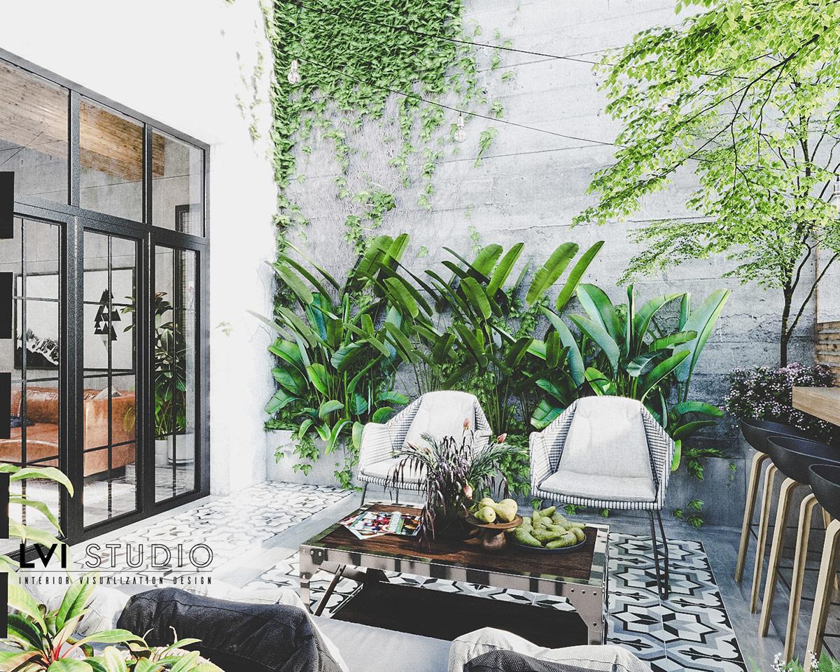 Ghế sofa và những chiếc ghế ngoài trời hiện đại tạo nên khu vực tiếp khách trong khi những chiếc ghế đẩu xếp thành một điểm ăn uống thư giãn với tầm nhìn tuyệt vời