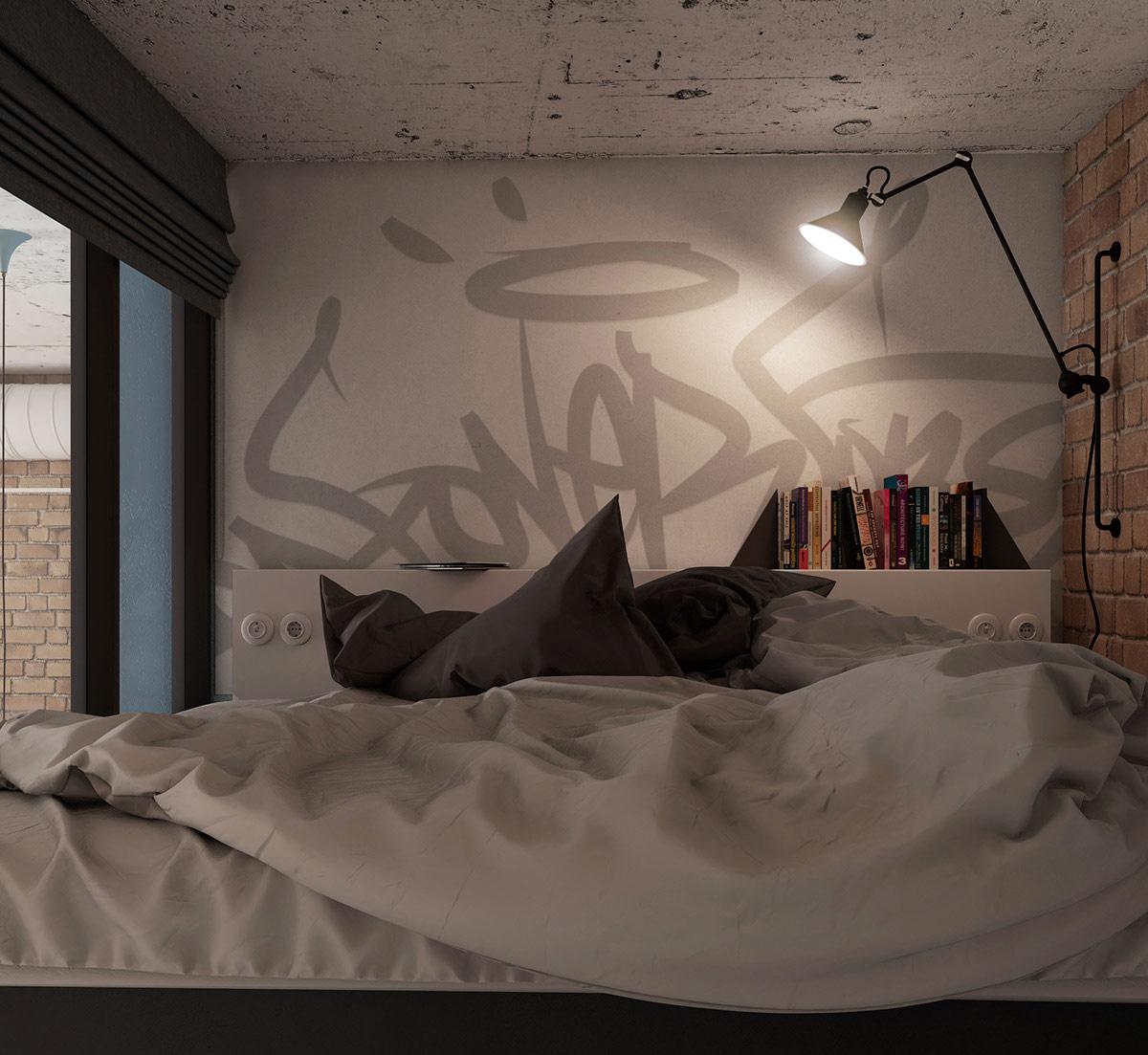Một chiếc đèn tường có cánh tay đòn chiếu sáng graffiti thẻ trên bức tường đầu giường và chiếu ánh sáng đọc sách vào phòng ngủ ấm cúng nhỏ gọn
