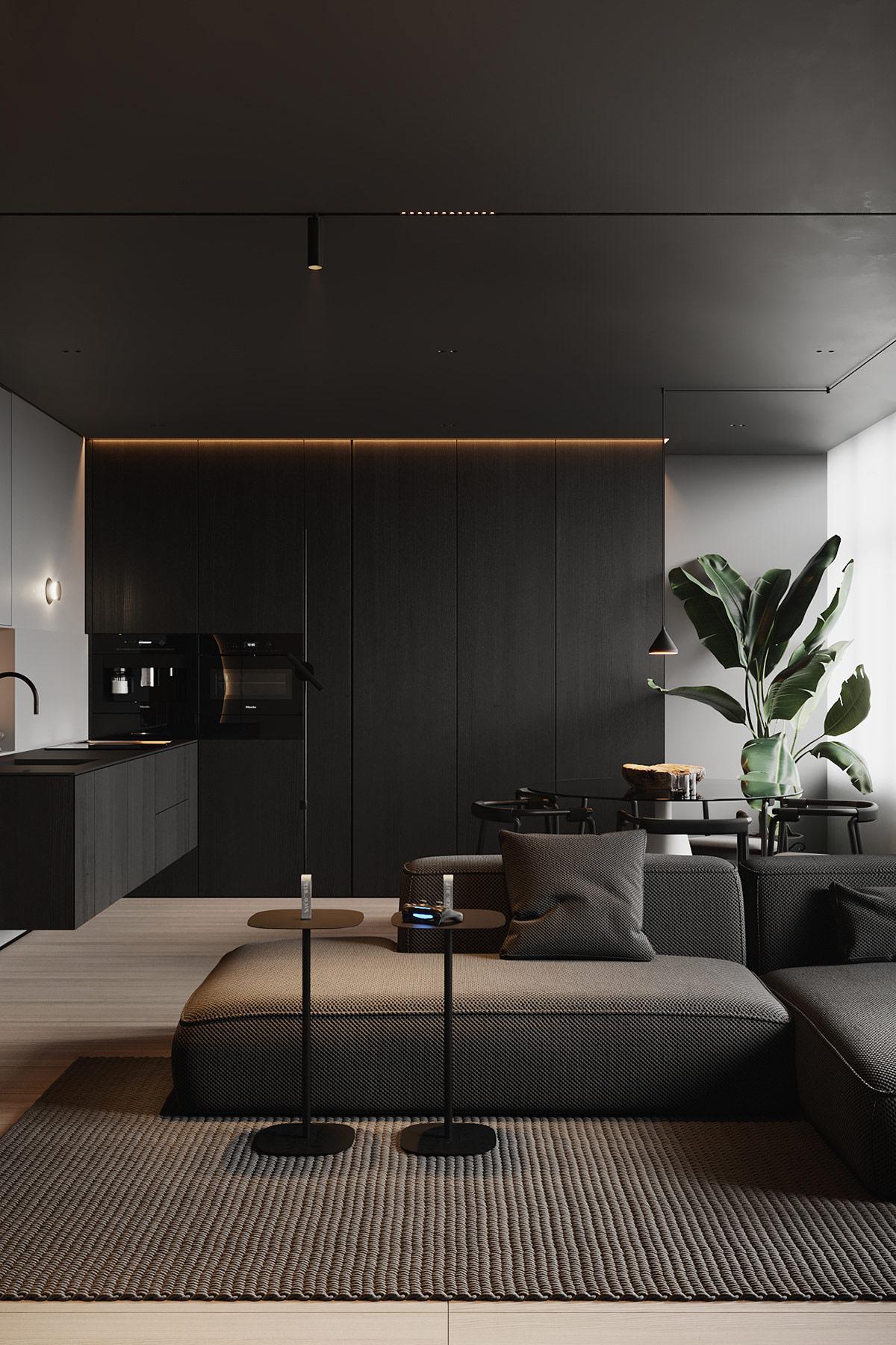 Hai chiếc bàn đứng trở thành điểm nhấn màu đen lên tấm thảm màu xám