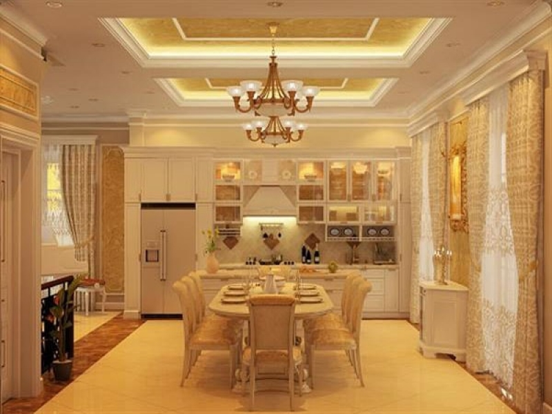 Đây là kiểu thiết kế cực kì sang trọng bằng chất liệu gỗ tự nhiên. Những đường nét, hoa văn trên mặt cánh tủ được thiết kế tỉ mỉ làm tăng sự sang trọng cho không gian bếp.
