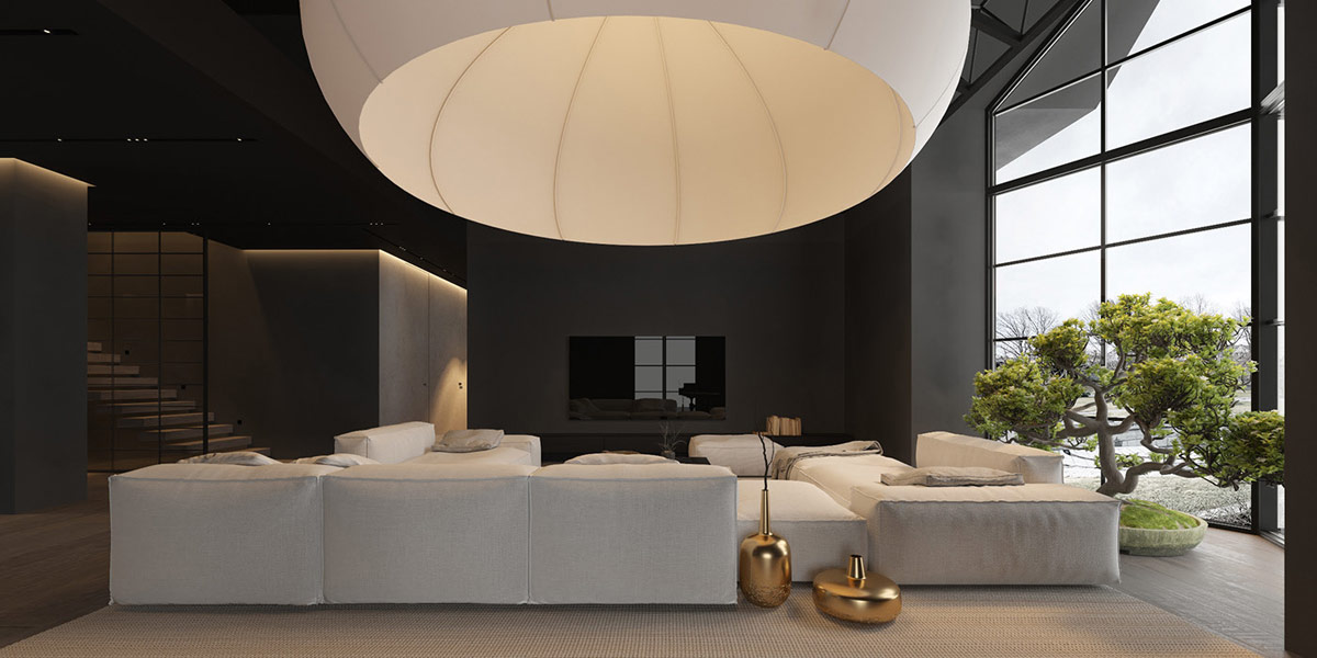 một thiết kế nhà đặc biệt mở ra bên dưới tán của một bóng đèn mặt dây chuyền thay đổi màu sắc khổng lồ