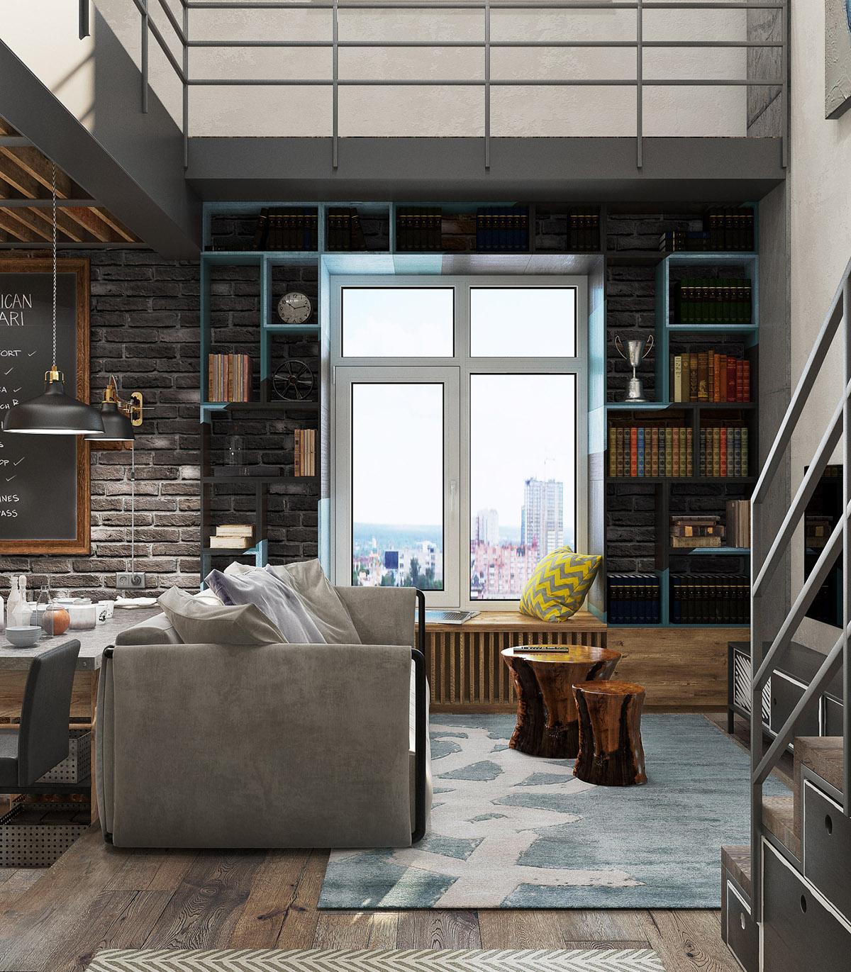 một gác xép theo phong cách công nghiệp pop-art ở Moscow. Giá sách màu xanh lam tạo khung hộp xung quanh cửa sổ phòng khách lớn. Một tấm thảm đồ họa lấy điểm nhấn màu xanh lam cho sàn nhà.