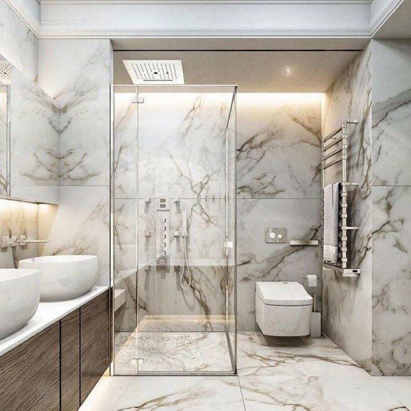 Gạch chống trơn giả đá: tông màu trầm, vân đá cầu kỳ thích hợp không giản nhà tắm rộng, giúp mang sự sang trọng tiện nghi.
