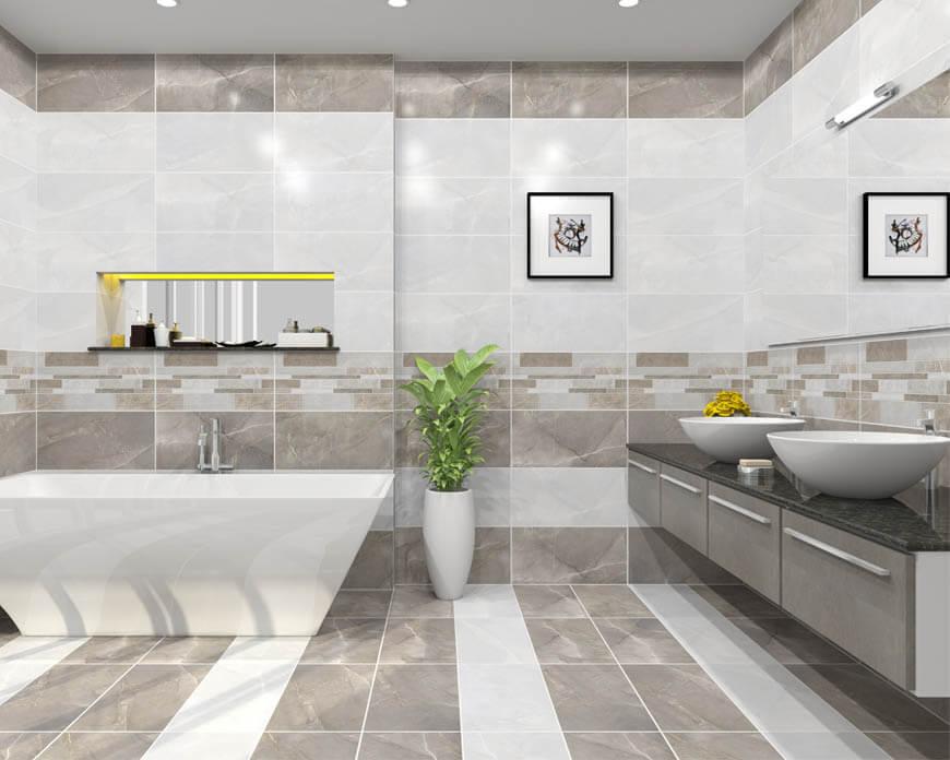 Nếu nhà tắm có diện tích hẹp nên chọn những mẫu gạch sáng màu, họa tiết đơn giản để giúp tạo hiệu ứng mở, mang đến cảm giác rộng rãi thoáng mát.