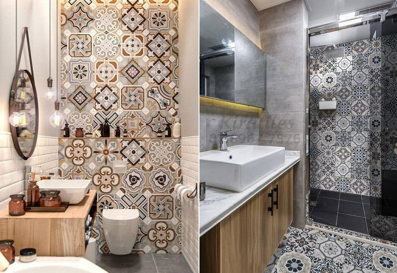 Mẫu gạch bông lát nhà tắm với các họa tiết truyền thống làm nổi bật không gian.