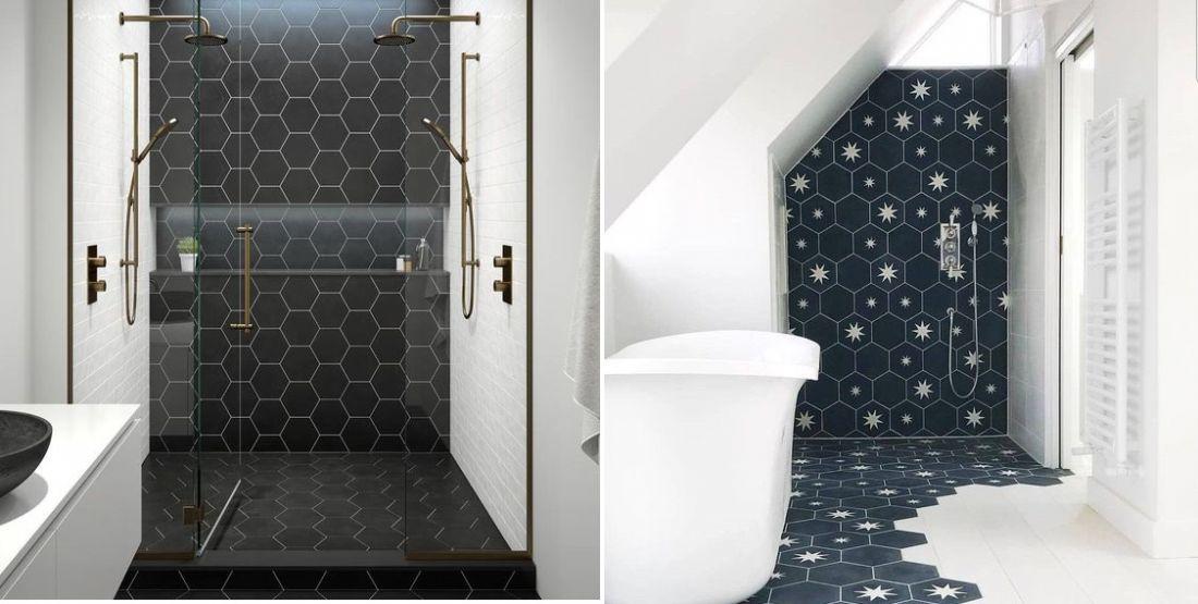 Gạch lục giác lát nhà tắm với nhiều sắc thái cũng được nhiều người ưa chuộng sử dụng cho không gian này.