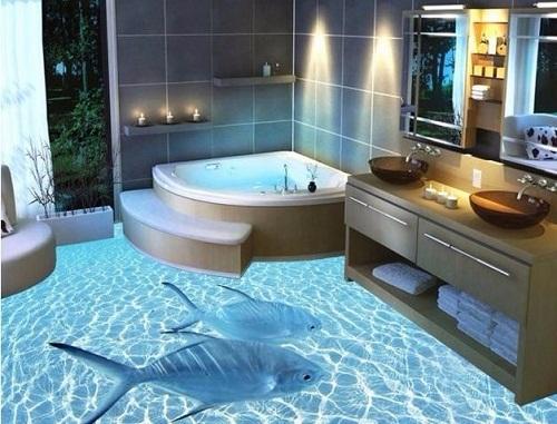Mẫu gạch lát nhà tắm 3D với nhiều chủ đề lấy cảm hứng từ biển, cây cối, phong cảnh.