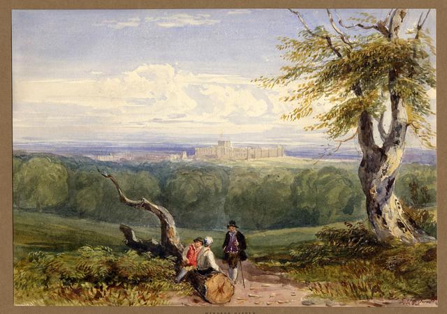 Tranh màu lâu đài Windsor Castle từ phía xa bởi tác giả David Cox Junior, 1834. (Ảnh: © Bảo tàng Trustees Anh Quốc [CC BY-NC-SA 4.0])