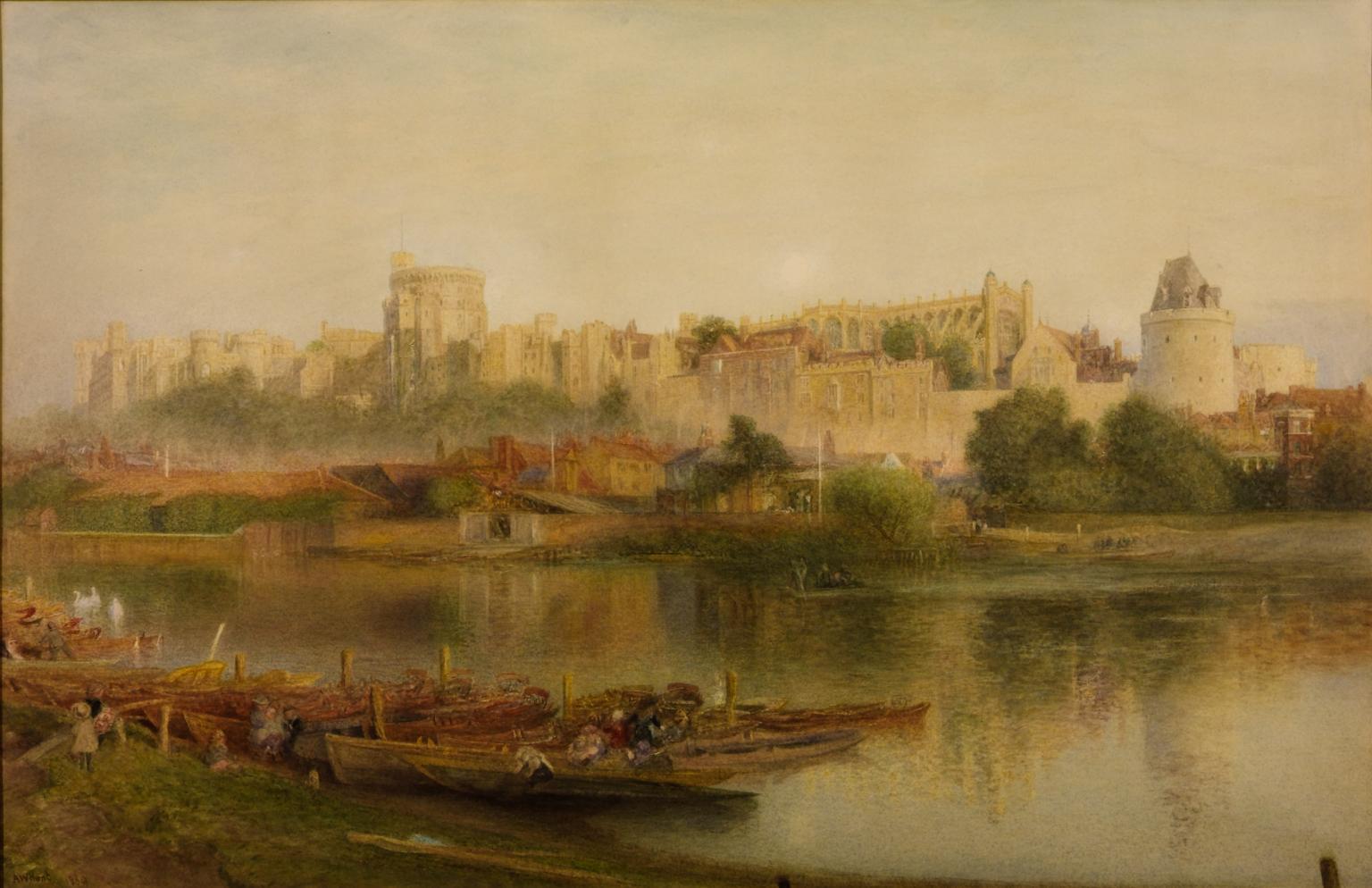 Tranh màu nước lâu đài Windsor bởi tác giả Alfred William Hunt, 1830–1896. (Ảnh: TATE)