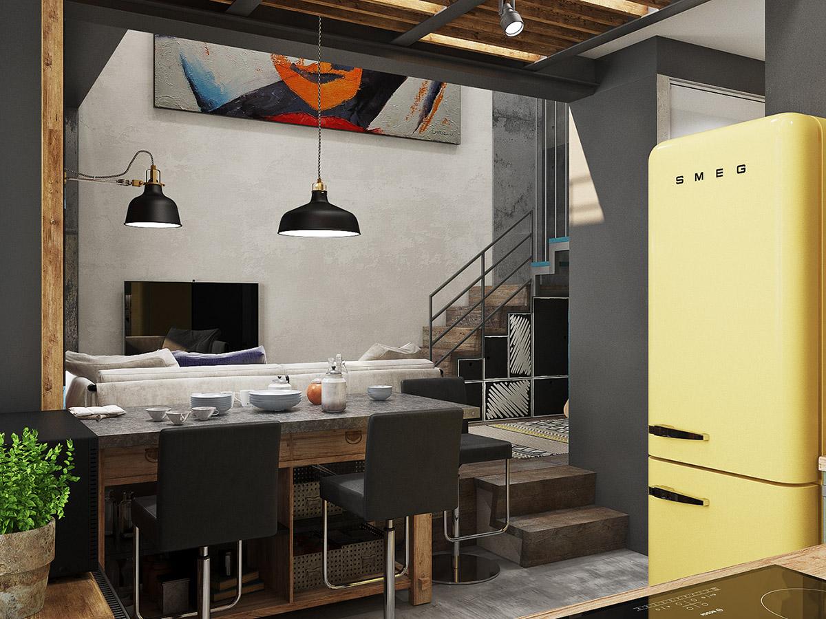 Các mảng màu vàng dẫn mắt đến nhà bếp bên cạnh, nơi một tủ lạnh SMEG sáng tương phản vui vẻ với bức tường màu xám than