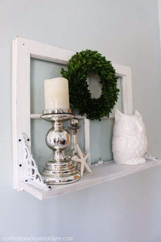 14-a-small-shelf-with-an-old-window-frame-as-a-base-mercury-glass-candleholders-a-greenery-wreath-an-old-is-a-stylish-decoration-for-a-vintage-space