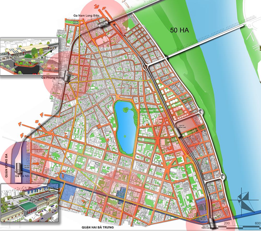 Đặt ga C9 cách xa Hồ Gươm, bán kính đi bộ 5 - 7 phút có thể tiếp cận các ga đường sắt đô thị Nguồn: Hanoidata