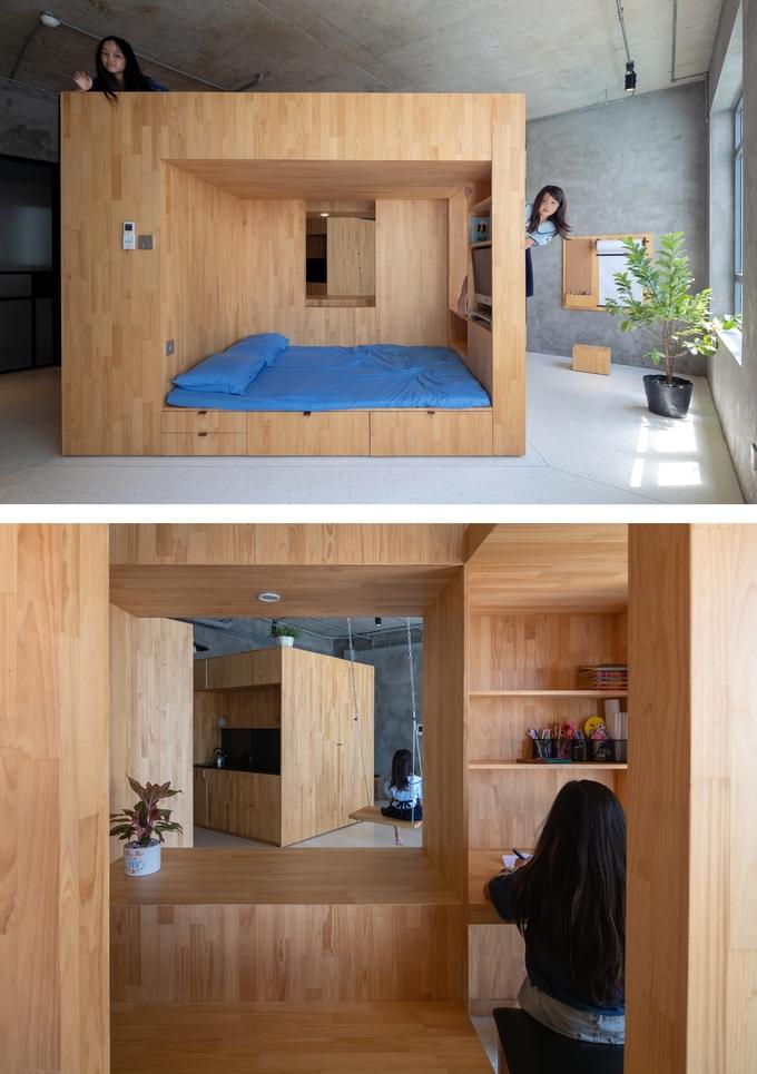 Chiếc hộp gỗ là nơi người ở ngủ, nghỉ, chơi, làm việc, cất chứa đồ đạc
