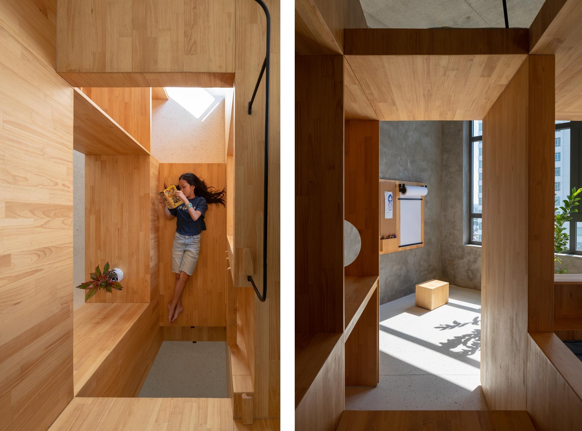 Không gian trong chiếc hộp liên thông theo chiều đứng và chiều ngang