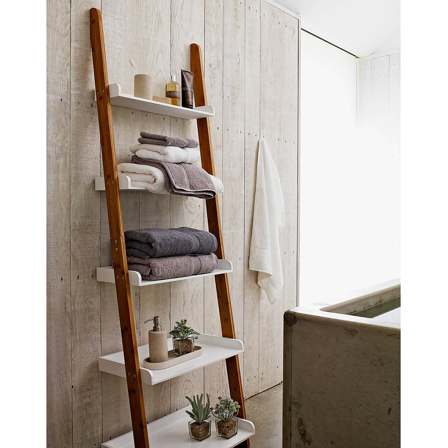 Bathroom Ladder Shelf Whitefurniture white brown wooden leaning ladder shelf for towel in