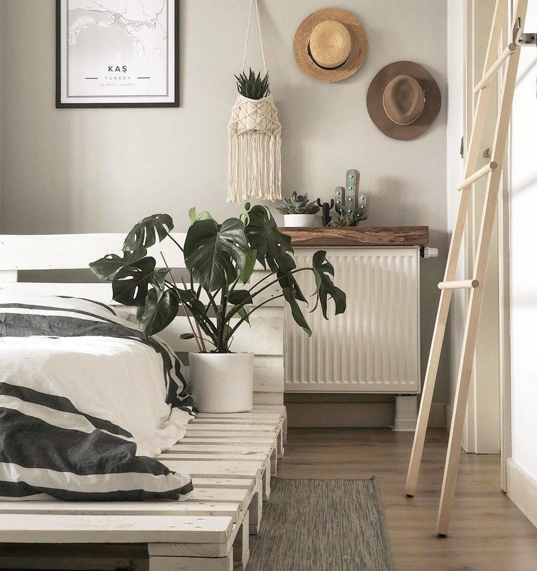 Khung giường bằng ván pallet quét vôi trắng là bệ đỡ cho nệm và cây trồng