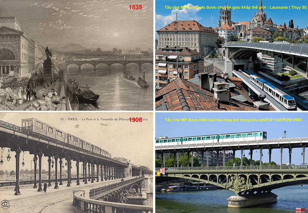 Cầu Passy trên sông Seine và tuyến tầu siêu nhẹ của Paris (Pháp)
