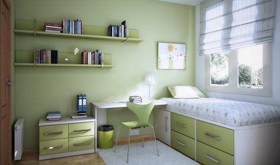 Một căn phòng màu xanh lá cây xinh xắn dành cho các bạn yêu thiên nhiên