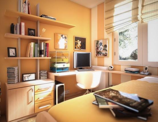 Màu cam của căn phòng phản ánh tính cách sôi nổi của tuổi thiếu niên