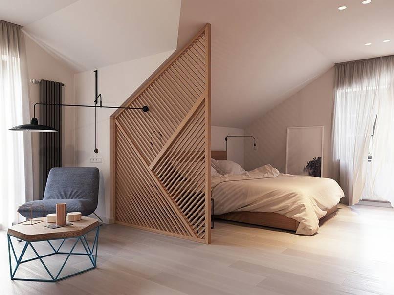 Lam gỗ được ứng dụng làm vách ngăn phòng ngủ