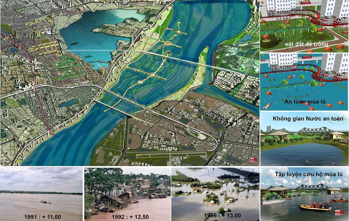 Hà Nội mong muốn chung sống hài hòa với sông Hồng cả hai mùa mùa lũ/cạn: sông hiền hòa bên phố, phố an toàn trong sông. Ảnh tư liệu sưu tầm