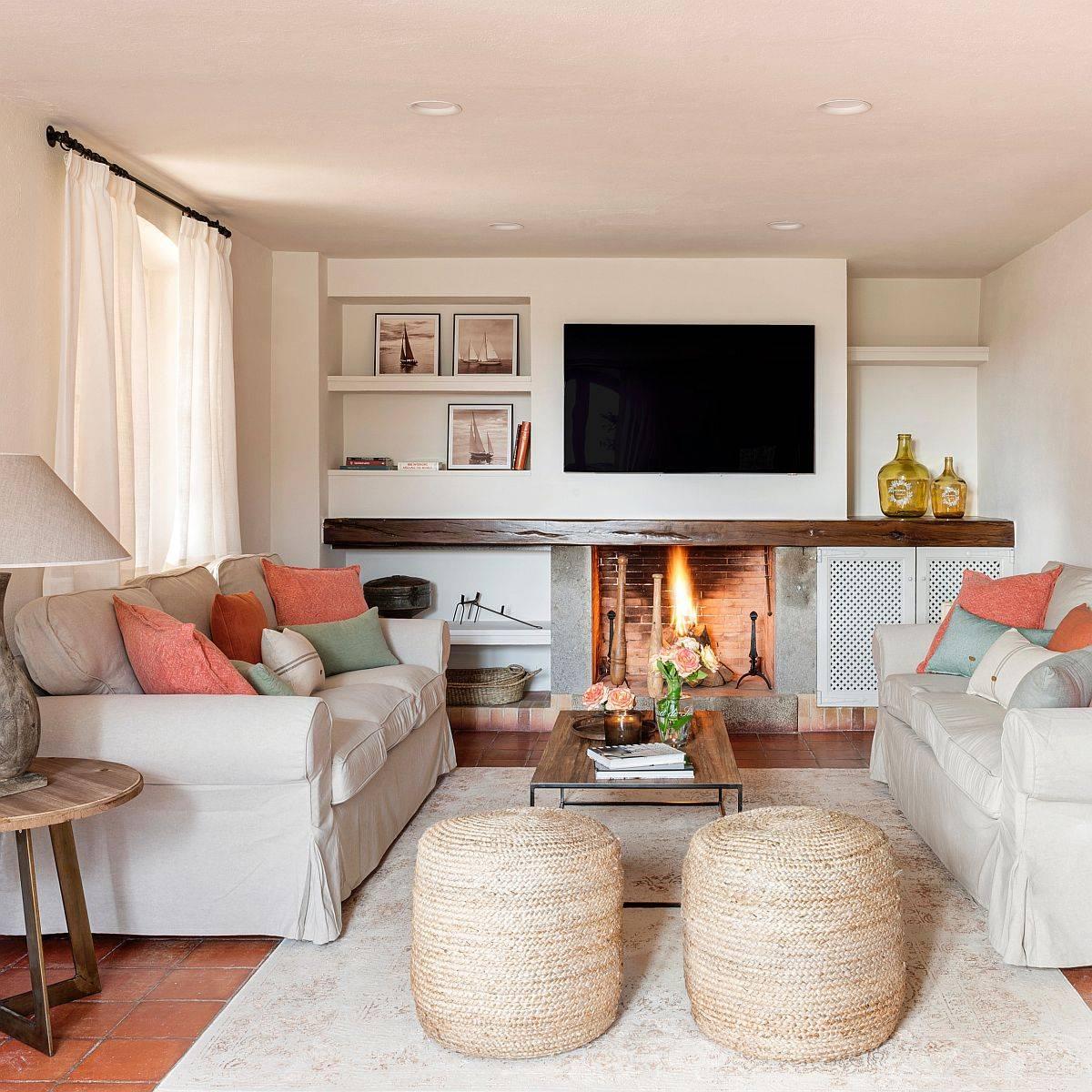 Phòng khách Địa Trung Hải hiện đại ấm cúng và trang nhã với màu be