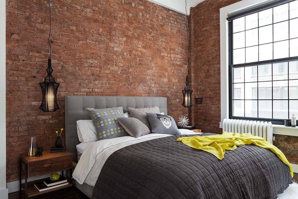 Những bức tường gạch lộ thiên là một phần tự nhiên và không thể thiếu trong các phòng ngủ công nghiệp hiện đại