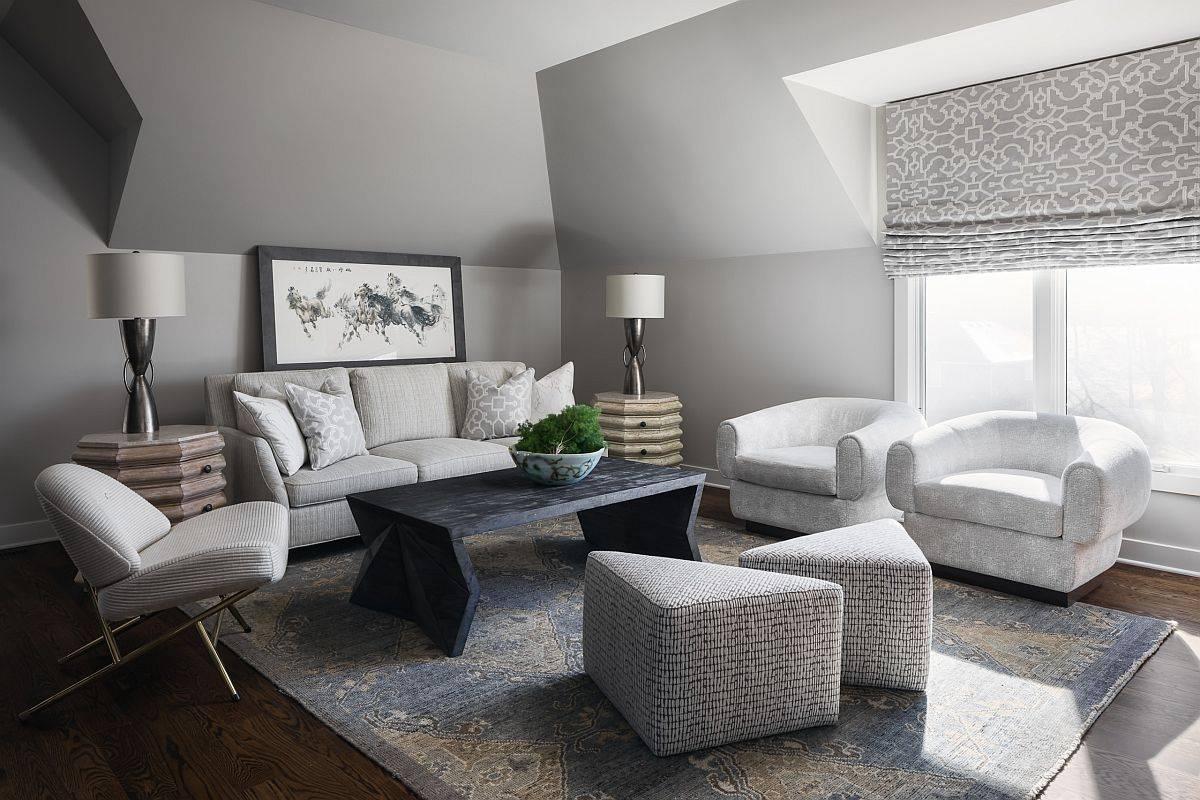 Phòng khách hiện đại đơn sắc màu xám