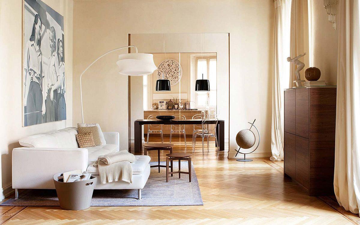 Họa tiết chevron sàn gỗ tạo thêm nét đặc trưng cho phong cách sống động màu trắng