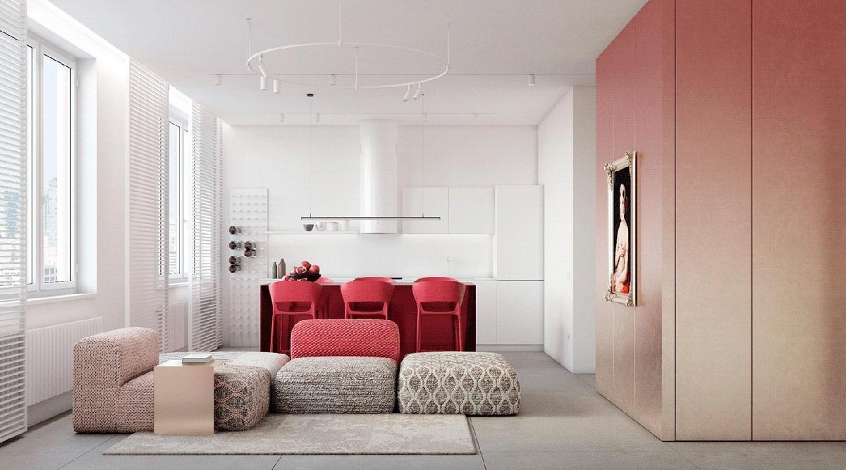 Màu đỏ tượng trưng cho đam mê, sức mạnh, năng lượng, may mắn, tuy nhiên, không may mắn thay, màu đỏ lại rất ít được sử dụng trong thiết kế trang trí nội thất. Sử dụng màu đỏ cần sự tinh tế và khéo léo, không phải là toàn bộ ngôi nhà mà chỉ nhấn vào một vài chi tiết.