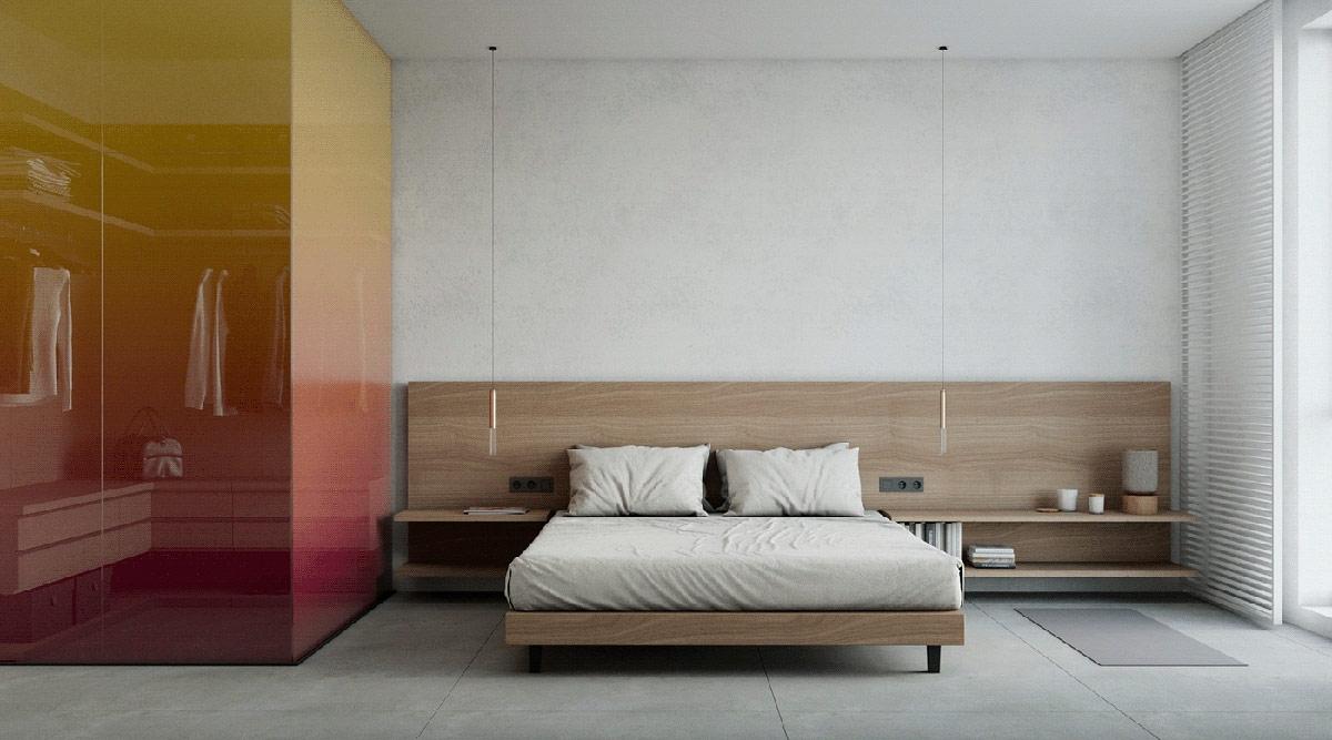 Tủ quần áo được thiết kế với chất liệu đặc biệt trông như một tác phẩm nghệ thuật. Do căn nhà đã khá nổi bật nên chủ nhân lựa chọn chi tiết đơn giản, đơn sắc cho phòng ngủ.