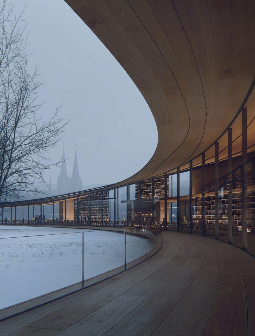 Thiết kế của thư viện nhằm bảo tồn và tôn vinh khung cảnh tuyệt vời của công viên mà vẫn tối đa hóa tiềm năng của nó như một không gian công cộng.