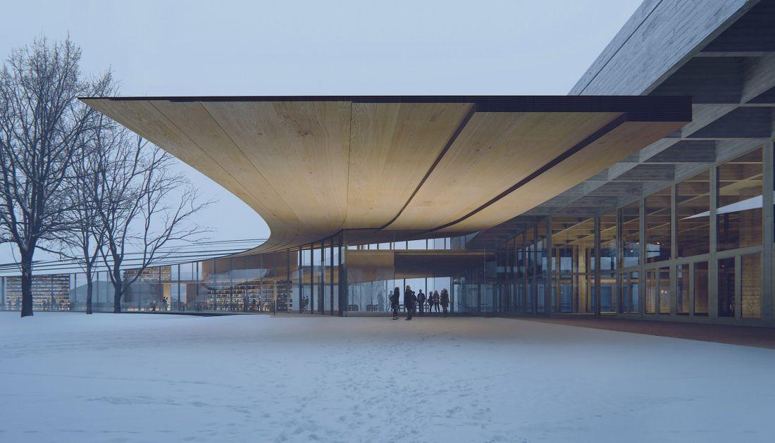 Công viên khá yên tĩnh và nhẹ nhàng nhưng khi hòa nhập với không gian mới của thư viện, nó đã trở nên nhộn nhịp và sinh động hẳn lên. Đồng thời, để tạo sự gắn kết giữa công viên và thư viện các nhà thiết kế đã dùng chủ yếu các loại vật liệu tự nhiên, đa phần là các loại gỗ giúp không gian trở nên ấm áp và thân thiện.