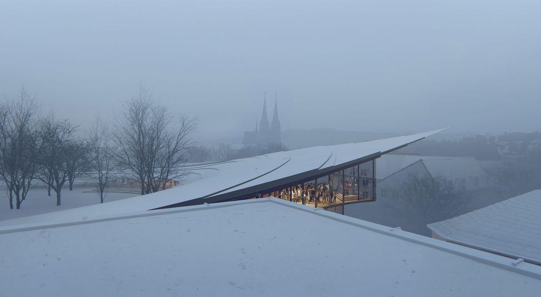 Một trong những điểm gây chú ý không kém của thư viện Ibsen nữa là mái nhà so le uốn lượn mềm mại, thấp dần về phía công viên.