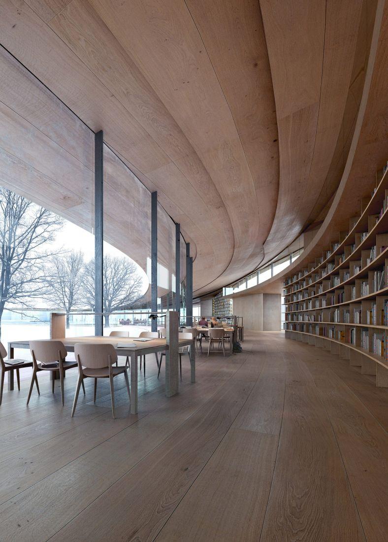 Được xây dựng trên một khu đất dốc, thư viện Ibsen này sẽ có hai tầng trên mặt đất và hai tầng nằm trên sườn đồi. Phần lớn các không gian sẽ được mở theo kế hoạch và không có vách ngăn cố định, mà lấy tủ sách làm vách ngăn luôn.
