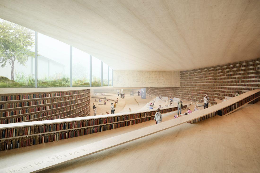 Trong số các không gian ở tầng trệt sẽ có một quán cà phê và khu vực dành cho trẻ em, được lót bằng gỗ và kết cấu màu đất để tối đa hóa không gian đồng thời kết nối nối thư viện với công viên. Còn các tầng dưới lòng đất sẽ được thiết kế chủ yếu dành cho người lớn, với một bầu không khí ấm cúng, thu hút.
