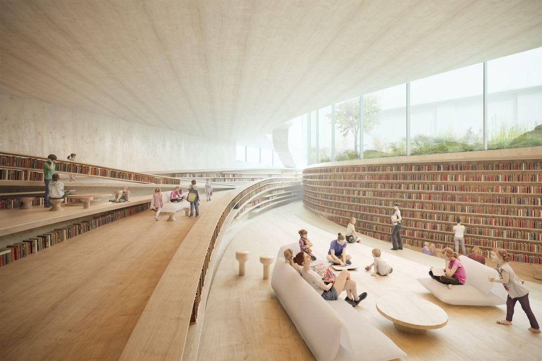 Một tính năng đáng chú ý của tầng hầm là sàn dốc của nó, được lót bằng một loạt các bậc thang rộng với giá sách sẽ tăng gấp đôi như chỗ ngồi cho người đọc.