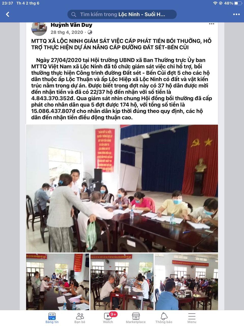 Tài khoản Facebook có tên Huỳnh Văn Duy đã đăng tải thông tin trong nhóm Lộc Ninh Suối Hùng, trong đó có nhiều nội dung cho thấy đã có đến 5 đợt chi hỗ trợ, bồi thường thực hiện công trình đường Đất Sét – Bến Củi