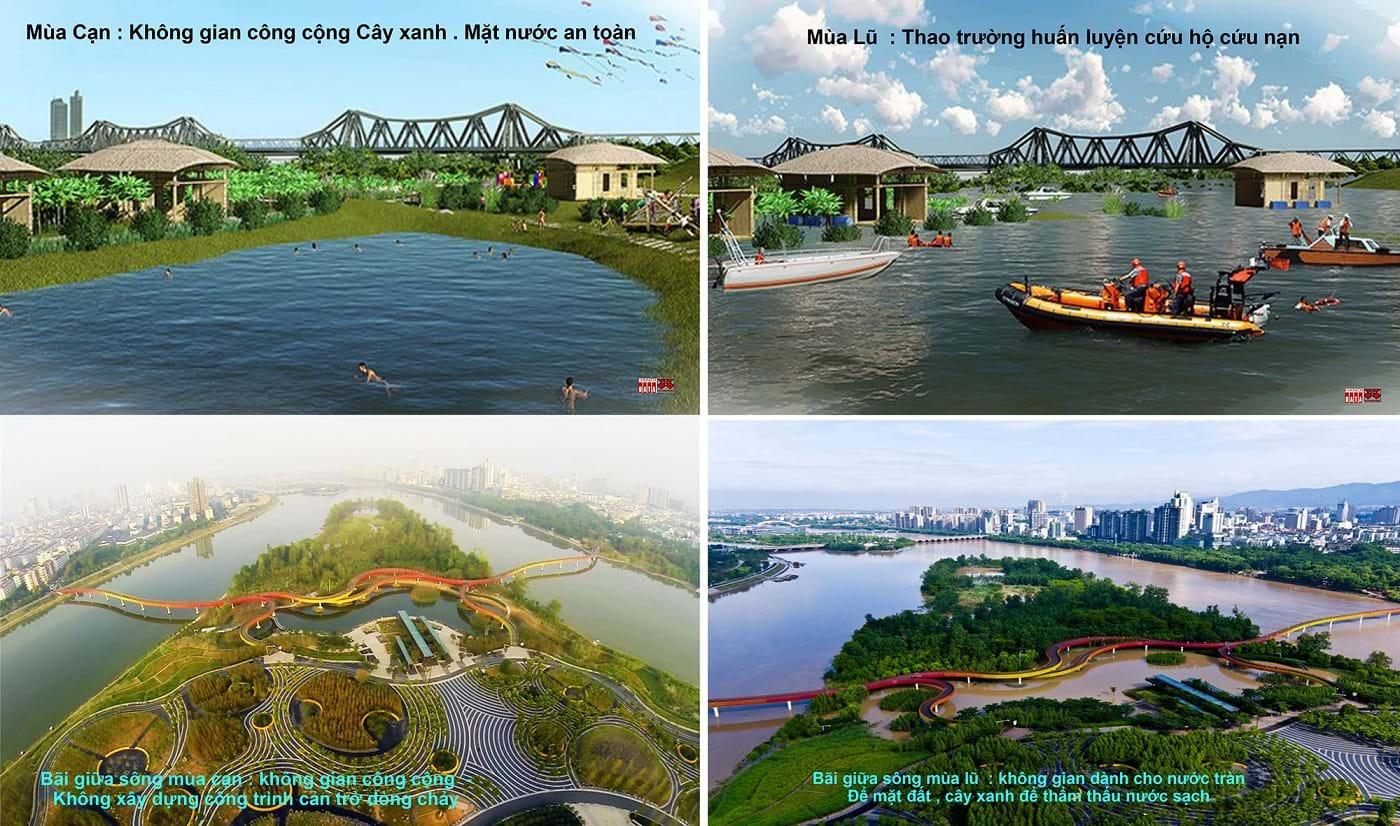 """""""Công viên Hài Hòa"""" do CitySolution đề xuất và ví dụ công viên thích hợp với hai mùa lũ/cạn của  một Thành phố Nam Trung Quốc. Nguồn ảnh do City Solution&Hanoidata cung cấp"""